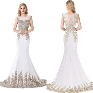 Women's White Gold Lace Embroidered Gown